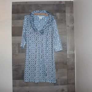 Gretchen Scott Dress Lrg Ruffneck Jersey BlueWhite